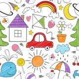 Χρωματισμός του άνευ ραφής σχεδίου με τα σχέδια παιδιών διανυσματική απεικόνιση