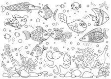 Χρωματισμός του υποβρύχιου κόσμου Ενυδρείο με τα ψάρια, χταπόδι, κοράλλια, άγκυρα, κοχύλια, πέτρες, μπουκάλι διανυσματική απεικόνιση