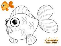 Χρωματισμός των χαριτωμένων ψαριών κινούμενων σχεδίων Εκπαιδευτικό παιχνίδι για τα παιδιά Vecto απεικόνιση αποθεμάτων