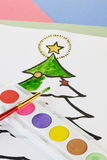 Χρωματισμός Χριστουγέννων παιδιού Στοκ φωτογραφία με δικαίωμα ελεύθερης χρήσης