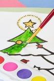 Χρωματισμός Χριστουγέννων παιδιού Στοκ Φωτογραφίες