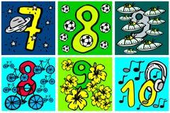 Χρόνια πολλά αριθμοί που παίζουν και αριθμοί εκμάθησης με τις εικόνες για τα χόμπι από 7-10 για τα παιδιά απεικόνιση αποθεμάτων