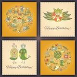 Χρόνια πολλά διανυσματική ευχετήρια κάρτα με τα αφηρημένα πουλιά και τα λουλούδια doodle στοκ φωτογραφία