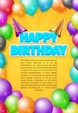 Χρόνια πολλά διανυσματική κάρτα ή αφίσα πρόσκλησης με τα καπέλα κομμάτων και τα μπαλόνια χρώματος ελεύθερη απεικόνιση δικαιώματος