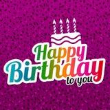Χρόνια πολλά ευχετήρια κάρτα με το σχέδιο εγγραφής και το εικονίδιο κέικ Στοκ Εικόνες