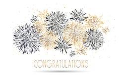 Χρόνια πολλά ευχετήρια κάρτα με το σχέδιο εγγραφής Χρυσός ακτινοβολήστε κόκκινο υπόβαθρο πυροτεχνημάτων διανυσματική απεικόνιση