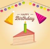 Χρόνια πολλά κάρτα εορτασμού με τη γλυκιά μερίδα και τα καπέλα κέικ ελεύθερη απεικόνιση δικαιώματος