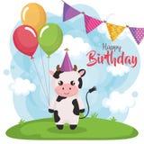 Χρόνια πολλά κάρτα με την αγελάδα διανυσματική απεικόνιση