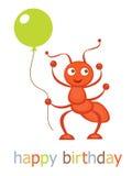 Χρόνια πολλά κάρτα με το μυρμήγκι διανυσματική απεικόνιση