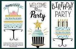 Χρόνια πολλά κάρτες κόμματος Στοκ Εικόνα