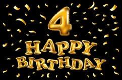 Χρόνια πολλά ο χρυσός εορτασμός μπαλονιών 4 τέσσερα και το χρυσό κομφετί, ακτινοβολούν Σχέδιο απεικόνισης για τη ευχετήρια κάρτα  Στοκ εικόνα με δικαίωμα ελεύθερης χρήσης