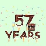 Χρόνια πολλά πενήντα επτά 57 έτος Στοκ εικόνα με δικαίωμα ελεύθερης χρήσης