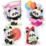 Χρόνια πολλά το διάνυσμα που τίθεται με το panda μωρών αντέχει Στοκ φωτογραφία με δικαίωμα ελεύθερης χρήσης