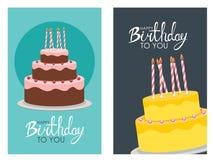 Χρόνια πολλά υπόβαθρο αφισών με το κέικ επίσης corel σύρετε το διάνυσμα απεικόνισης Στοκ φωτογραφίες με δικαίωμα ελεύθερης χρήσης