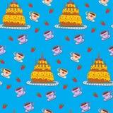 Χρόνια πολλά άνευ ραφής σχέδιο με το κέικ διανυσματική απεικόνιση
