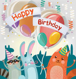 Χρόνια πολλά ευχετήρια κάρτα με τα χαριτωμένα ζώα απεικόνιση αποθεμάτων