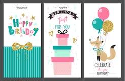 Χρόνια πολλά ευχετήριες κάρτες και πρότυπα πρόσκλησης κομμάτων επίσης corel σύρετε το διάνυσμα απεικόνισης Στοκ Εικόνα