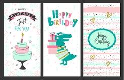 Χρόνια πολλά ευχετήριες κάρτες και πρότυπα πρόσκλησης κομμάτων επίσης corel σύρετε το διάνυσμα απεικόνισης Στοκ εικόνες με δικαίωμα ελεύθερης χρήσης