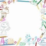 Χρόνια πολλά ζωηρόχρωμα σχέδια παιδιών πλαισίων στο άσπρο υπόβαθρο Στοκ φωτογραφία με δικαίωμα ελεύθερης χρήσης
