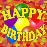Χρόνια πολλά ζωηρόχρωμο έμβλημα με τα baloons, το κομφετί και serpentine Στοκ φωτογραφίες με δικαίωμα ελεύθερης χρήσης