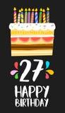 Χρόνια πολλά κάρτα 27 κέικ είκοσι επτά ετών Στοκ εικόνες με δικαίωμα ελεύθερης χρήσης