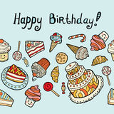 Χρόνια πολλά κάρτα με τα γλυκά στο μπλε υπόβαθρο Απεικόνιση αποθεμάτων