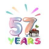 Χρόνια πολλά πενήντα επτά 57 έτος Στοκ Εικόνες