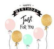 Χρόνια πολλά πρότυπο πρόσκλησης ευχετήριων καρτών και κομμάτων με τα μπαλόνια επίσης corel σύρετε το διάνυσμα απεικόνισης Στοκ Εικόνες