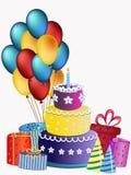 Χρόνια πολλά το κέικ, μπαλόνια και παρουσιάζει διανυσματική απεικόνιση