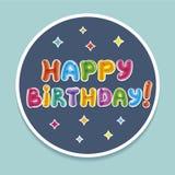 Χρόνια πολλά bage Κείμενο Baloon διάνυσμα απεικόνισης χαιρετισμού καρτών eps10 γενεθλίων Στοκ Εικόνα
