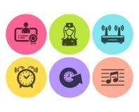 Χρόνος αναπροσαρμογών, νοσοκόμα νοσοκομείων και εικονίδια ξυπνητηριών καθορισμένοι Πιστοποιητικό, Wifi και μουσικά σημάδια σημειώ ελεύθερη απεικόνιση δικαιώματος