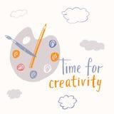 Χρόνος για τη δημιουργική εγγραφή Κινητήρια αφίσα Στοκ φωτογραφία με δικαίωμα ελεύθερης χρήσης