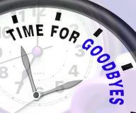 Χρόνος για το μήνυμα Goodbyes που παρουσιάζει αντίο ή αντίο Στοκ φωτογραφία με δικαίωμα ελεύθερης χρήσης