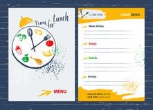 Χρόνος για το μεσημεριανό γεύμα Στοιχείο σχεδίου επιλογών για τον καφέ, εστιατόριο, φραγμός φ διανυσματική απεικόνιση