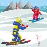 Χρόνος διασκέδασης εξόδων αγοριών και κοριτσιών κινούμενων σχεδίων που κάνει σκι υπαίθρια απεικόνιση αποθεμάτων