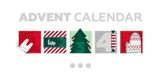 χρόνος εικονιδίων στοιχείων Χριστουγέννων ημερολογιακών κινούμενων σχεδίων εμφάνισης διάφορος Μέρος 1 διανυσματική απεικόνιση