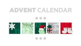 χρόνος εικονιδίων στοιχείων Χριστουγέννων ημερολογιακών κινούμενων σχεδίων εμφάνισης διάφορος Μέρος 3 ελεύθερη απεικόνιση δικαιώματος