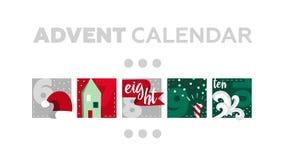 χρόνος εικονιδίων στοιχείων Χριστουγέννων ημερολογιακών κινούμενων σχεδίων εμφάνισης διάφορος Μέρος 2 ελεύθερη απεικόνιση δικαιώματος