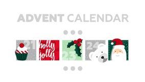 χρόνος εικονιδίων στοιχείων Χριστουγέννων ημερολογιακών κινούμενων σχεδίων εμφάνισης διάφορος Μέρος 5 απεικόνιση αποθεμάτων