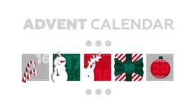 χρόνος εικονιδίων στοιχείων Χριστουγέννων ημερολογιακών κινούμενων σχεδίων εμφάνισης διάφορος Μέρος 4 ελεύθερη απεικόνιση δικαιώματος
