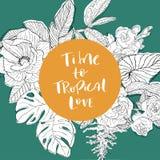 Χρόνος επιγραφής στην αγάπη tropicl στον κύκλο Στοκ Εικόνες