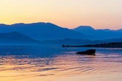χρόνος θάλασσας τοπίων βραδιού Στοκ Εικόνες