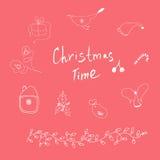 Χρόνος και στοιχεία Χριστουγέννων διανυσματική απεικόνιση