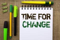 Χρόνος κειμένων γραψίματος λέξης για την αλλαγή Επιχειρησιακή έννοια για τη μεταβαλλόμενη στιγμής πιθανότητα αρχών εξέλιξης νέα ν Στοκ Εικόνες
