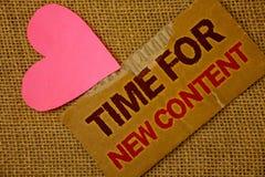 Χρόνος κειμένων γραψίματος λέξης για το νέο περιεχόμενο Επιχειρησιακή έννοια για την έννοια αναπροσαρμογών δημοσιεύσεων πνευματικ Στοκ Εικόνα