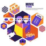 Χρόνος κινηματογράφων, ημερομηνία στην έννοια κινηματογράφων Διανυσματικά στοιχεία σχεδίου για το ιπτάμενο κινηματογράφων, αφίσα, ελεύθερη απεικόνιση δικαιώματος