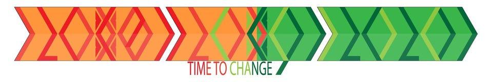 Χρόνος να αλλαχτεί το έμβλημα έννοιας του 2019 6α απλά γεωμετρικά ψηφία ελεύθερη απεικόνιση δικαιώματος