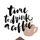 Χρόνος να πιωθεί η αφίσα καφέ Στοκ Εικόνα