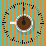 Χρόνος να πιωθεί ο καφές Απεικόνιση φλυτζανιών καφέ Στοκ Εικόνα