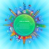 Χρόνος να ταξιδεψει - επίπεδη σύνθεση ταξιδιού σχεδίου ελεύθερη απεικόνιση δικαιώματος